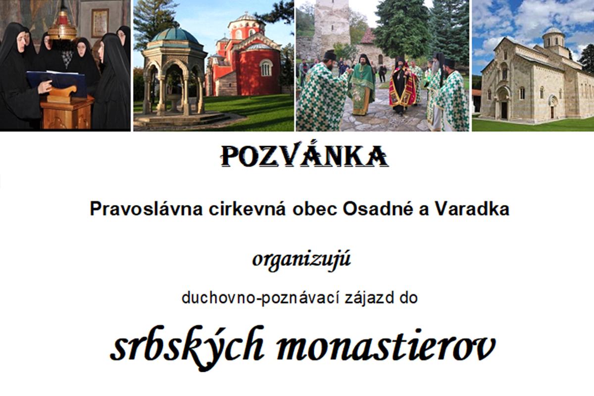 Pozvánka na duchovno-poznávací zájazd do srbských monastierov